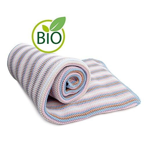 (SonnenStrick 100% Organic Cotton Knitted Baby Blanket (Striped) Made in Germany (Pink Striped))