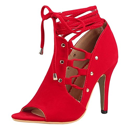 Femmes Lacets JOJONUNU Sandales Ete Red 4f1dwTq
