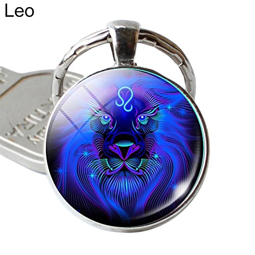 Shineweb 12 Constellation Zodiac Sign Round Blue Glass Key Chain Key Ring Keyring Keyfob Handbag Pendant Keychain Charm - Zodiac Key
