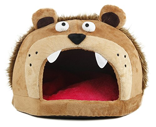 Petlife Roar Bear Snuggle Plush Polar Fleece Pet Bed, Lig...
