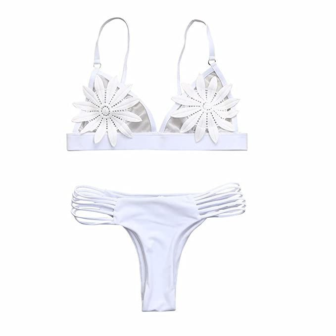Sujetador Push-up de Mujer Sujetador de baño Floral Bikini Set Sexy Ladies Solid Beachwear