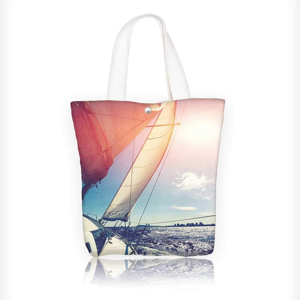 c7354d39be2cc1 Amazon.com: Canvas Beach Bags yacht sail in open sea against calm sea and  blue sky background Totes for Women Zippered Beach Shoulder Bag W11xH11xD3  INCH: ...