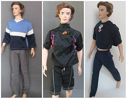 HelloJoy Lot 3 Barbie - Ken Fashion Clothes - Sport Outfits -