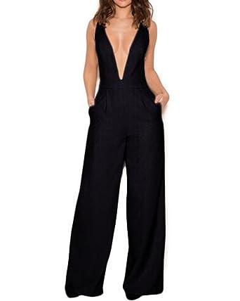 08f21f60dc8 Amazon.com  Whoinshop Women s Deep V Wide Leg Jumpsuit Club Romper ...