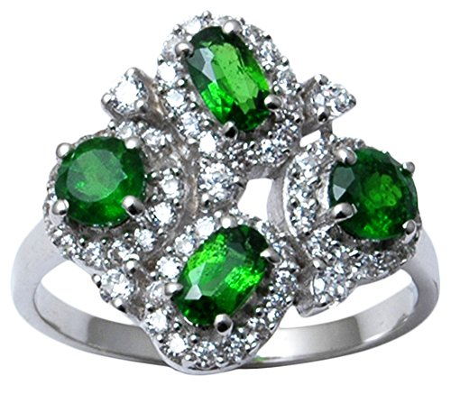 - 9.25 Sterling Silver Chrome Diopside Gemstone Ring Women Fashion Gift Jewelry-6.25