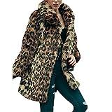 Manka Vesa Women's Leopard Sexy Faux Fur Jacket Coat Long Sleeve Winter Warm Fluffy Parka Overcoat Outwear Tops Style 1