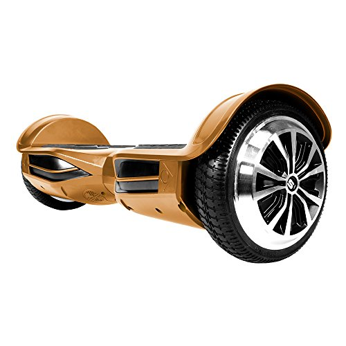 Swagtron T380 Hoverboard - Bluetooth Speaker & Lights, Personalize Experience w/Android/iOS App (Gold)