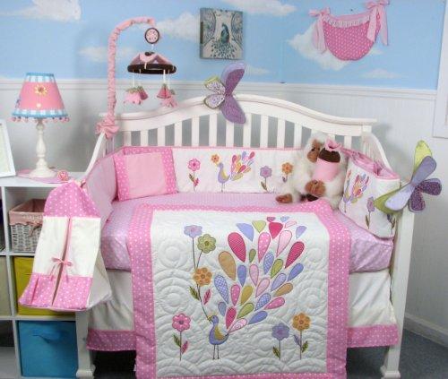 SoHo Baby Crib Bedding 9 Piece Set, Peacock (Baby Peacock Bedding Sets)