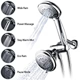 #6: Hydroluxe Full-Chrome 24 Function Ultra-Luxury 3-way 2 in 1 Shower-Head /Handheld-Shower Combo