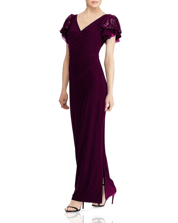 Magenta Wanshaqin Women's Embellished Flutter Caps Sleeves Evening Formal Gown Wedding Party Dress Pleated VNeck