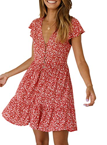 Dokotoo Womens Cute Casual Summer Beach Deep V Neck Dress Floral Print A Line Boho Pleated Swing Skater Mini Dress Red Small