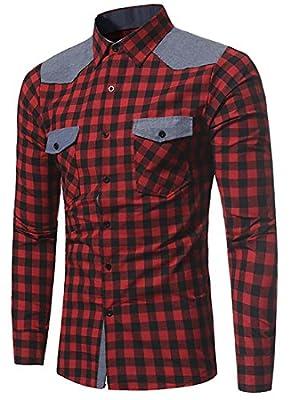 X-Future Men's Casual Long Sleeve Shirt Plaid Button Down Dress Shirts