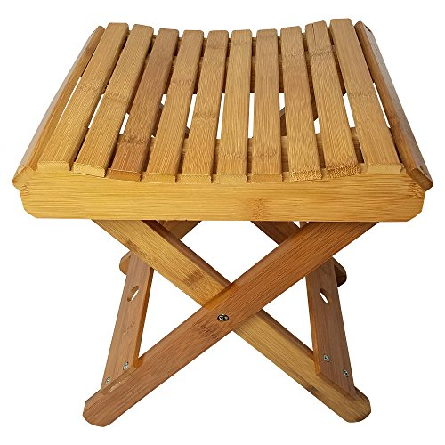 Royal Brands Portable Bamboo Stool for Shaving Shower Set Foot Folding Stool for Picnic Fishing Waterproof and Easy Clean - (11.25