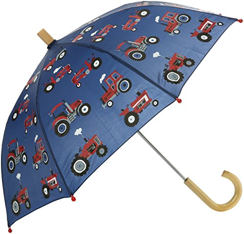 Red Farm Tractor - Hatley Boys' Little Printed Umbrellas, Red Farm Tractors, One Size