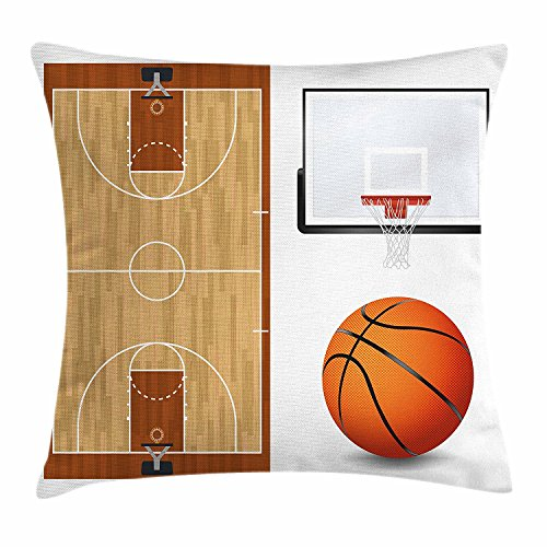 fengyijiating Boy's Room Throw Pillow Cushion Cover Basketball Court Backboard Illustration Realistic Sports Themed Decorative Square Accent Pillow Case 18 X 18 inch