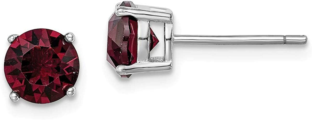 NEW 925 Silver /& Burgundy Crystal 2mm Round Nose Stud