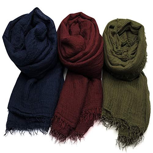 Axe Sickle Scarf Wrap Shawl Cotton Hemp Soft 3PCS Outdoor Beach for All Seasons Wrap, Women Wrap Shawls Sunscreen Stylish Scarf Lightweight Warm Big Head Scarves. ()