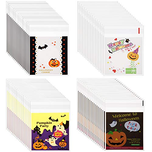 Cute Homemade Halloween Candy Bags (Halloween Candy Bags Self Adhesive Cookie Bags Trick or Treat Biscuit Bag Pouches for Halloween Homemade Crafts (200)