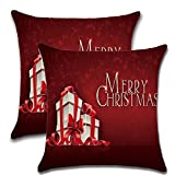YIDUN Christmas Throw Pillow Covers Decorative Gifts 18x18 Inches 2 Pieces