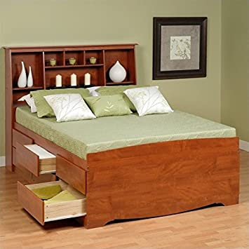 prepac monterey queen tall bookcase high platform storage bed in cherry