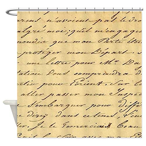 (CafePress Shabby Chic French Script Decorative Fabric Shower Curtain (69