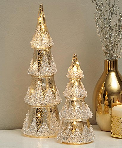 Christmas Mercury Glass - The Lakeside Collection Set of 2 Lighted Glass Trees