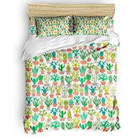 GreaBen Queen Beding Duvet Cover Sets 4 Pieces Comforter Cover Set,Cartoon Tropical Cactus Flower Wallpaper Bed Sheet Set for Girls Boys,Include 1 Comforter Cover 1 Bed Sheets 2 Pillow Cases