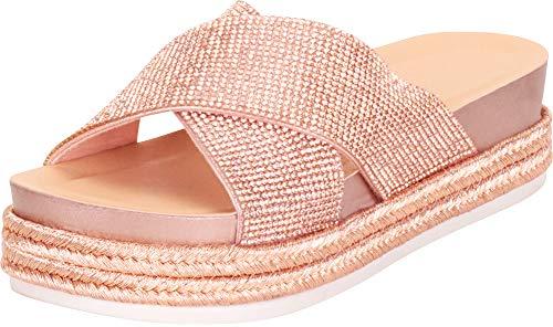 (Cambridge Select Women's Crisscross Glitter Crystal Rhinestone Espadrille Slip-On Flatform Slide Sandal,8 B(M) US,Rose Gold )