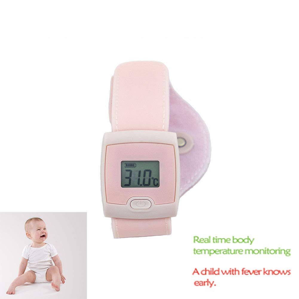 Intelligent Bluetooth Body Temperature Bracelet Child Baby and Adults Bluetooth Thermometer Real-Time Monitoring Body Temperature Smartphone App,Compatible with Android Phones and iOS,Pink by SUN RDPP Intelligent Bluetooth Body Temperature