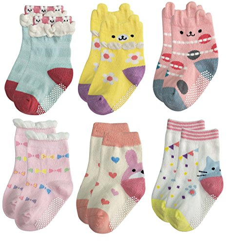 Girls Infant Socks (Deluxe Anti Slip Non Skid Crew Socks With Grips For Baby Toddler Kids Girls (12-24 Months, 6 designs/RG-726))