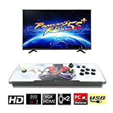 CLIENSY Arcade Video Game Console, 999 in 1 Pandora's Box 5S 1280x720 HD Double Joystick 2 Players Retro Games Arcade System, Support HDMI VGA Ouput