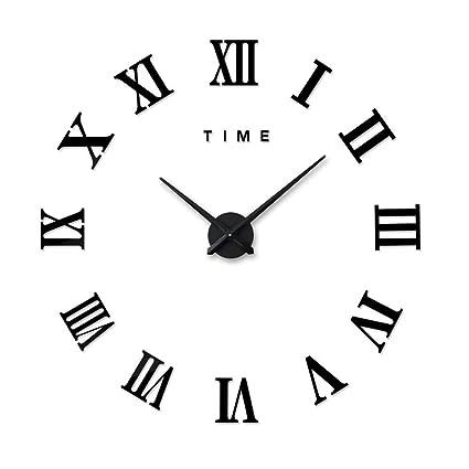 Artensky Relojes murales Reloj Grande números Romanos decoración Pared salón casa Pegatina (Negro)