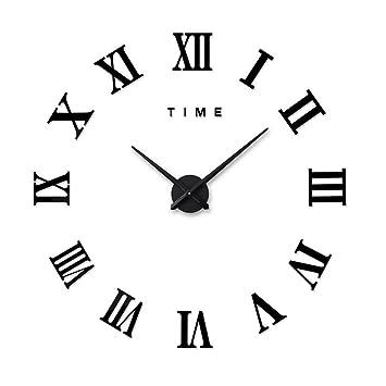 Artensky Relojes murales Reloj Grande números Romanos decoración Pared salón casa Pegatina (Negro): Amazon.es: Hogar