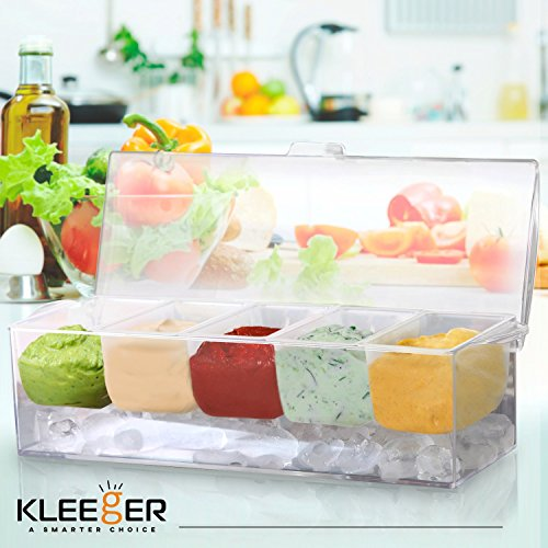 Kleeger Chilled Condiment Server With Lid: 5 Removable Compartments, Bottom Fills With Ice by KLEEGER (Image #1)