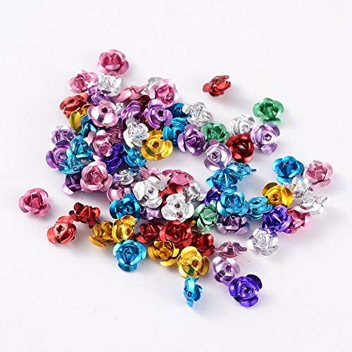 - 950pcs Metal Aluminum Rose Flower Tiny Beads Mixed Colorful DIY Jewelry 6x4mm