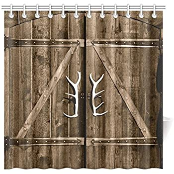 InterestPrint Wooden Garage Barn Door Shower Curtain Vintage Rustic Country Gate With Antler Handles Decor Fabric Bathroom Set Hooks