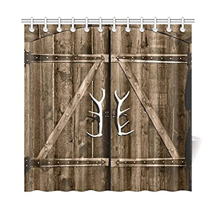 InterestPrint Wooden Garage Barn Door Shower Curtain, Vintage Rustic  Country Wooden Gate With Antler Handles
