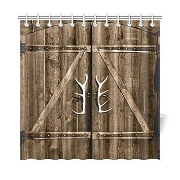 InterestPrint Wooden Garage Barn Door Shower Curtain Vintage Rustic Country Wooden Gate with Antler Handles  sc 1 st  Amazon.com & Amazon.com: InterestPrint Wooden Garage Barn Door Shower Curtain ... pezcame.com