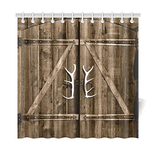 InterestPrint Wooden Garage Barn Door Shower Curtain Vintage Rustic Country Gate With Antler Handles