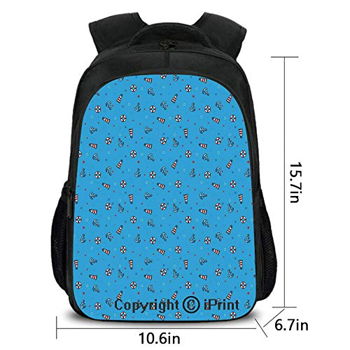 Outdoor Travel Backpack,Polka Dotted Background Life Buoys Anchored Abstract Marine Vintage Nautical Decorative,School Bag :Suitable for Men and Women,School,Travel,Daily use,etc.Blue Red White