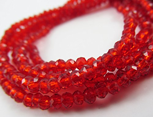 100pcs Glass Rondelle Faceted Beads 3mm Red Red C07 Top Quality AAA