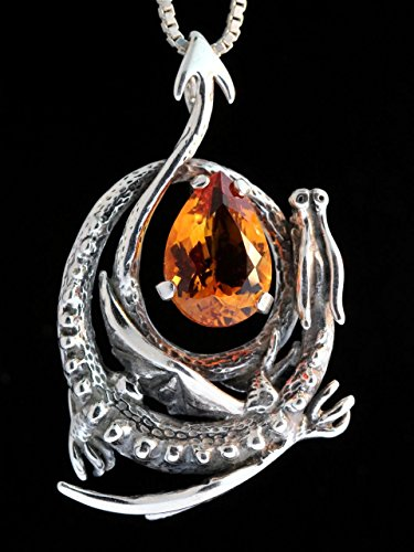 Silver Curled Dragon Pendant with Gemstone (Curled Dragon)