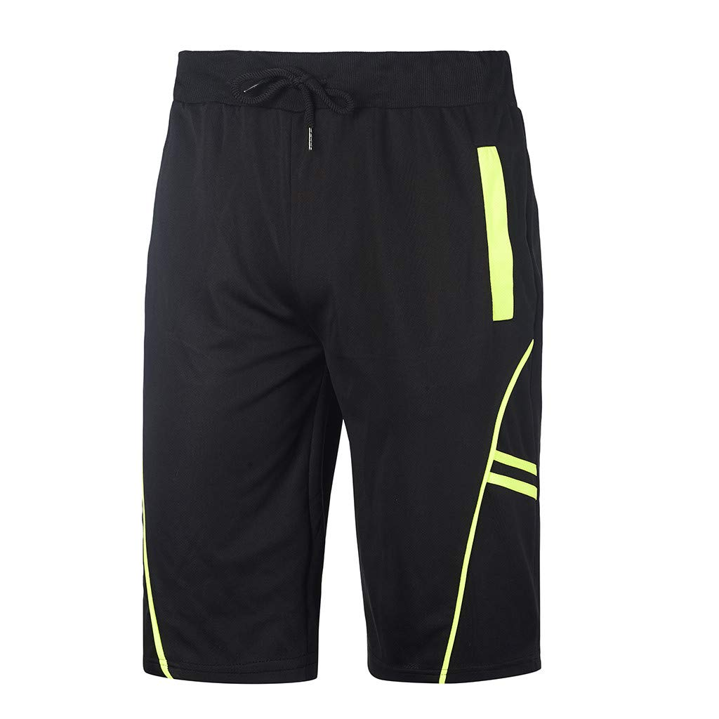 GREFER Mens Sports Slim Fit Fitness Striped Bodybuilding Pocket Soft Short Pants Black