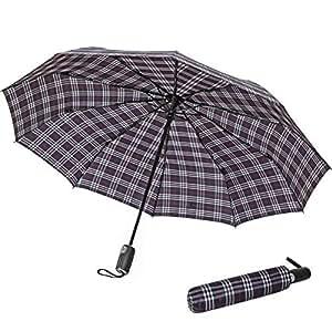 Reliancer Premium Automatic Umbrella Large 10 Ribs Windproof Travel Umbrella Compact Folding Rain Umbrella fit Backpack for Men and Women Reinforced Canopy Auto Open Close(10K, Black Grid)