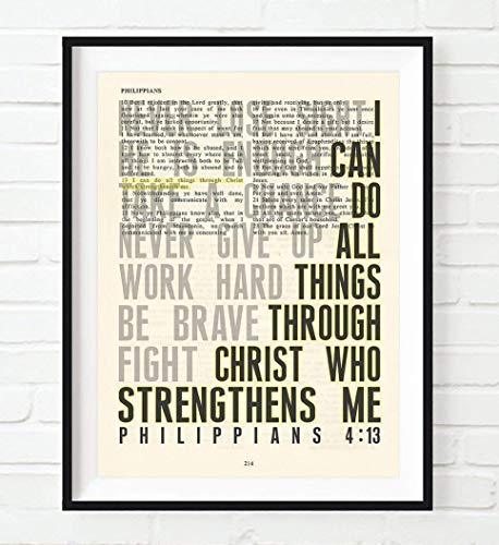(I Can Do All Things Philippians 4:13 Christian UNFRAMED Art PRINT,Vintage Bible verse scripture dictionary wall & home decor poster, Inspirational gift, 8x10 inches)