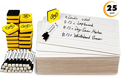 Double Sided Dry Erase Boards - Lined/Plain, Ohuhu 25-Pack 9 x 12 Inch Whiteboards Set, Including 25 x Lap Board, 25 x Black Markers, 25 x White Boards Eraser for Students, Classroom, Back to School