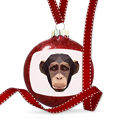 Christmas Decoration Geometric Animal art Chimpanzee Ornament by NEONBLOND