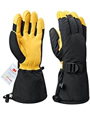 OZERO Ski Gloves -40°F Cold Proof Warm Snow Skiing Glove Water-resistant and Windproof for Snowmobile Shoveling Snow Work for Men and Women