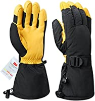 OZERO Winter Ski Gloves Cold Proof Work Glove with Thermal 3M Thinsulate Insulation Cotton and 5-inch Long Sleeve - Water-Resistant and Windproof for Skiing/Snowmobile/Shoveling Snow - Gold/Black