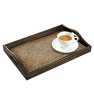 Dark Brown Rectangular Wood and Rattan Breakfast Serving Tray with Handles
